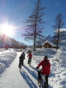 escursione in bicicletta neve