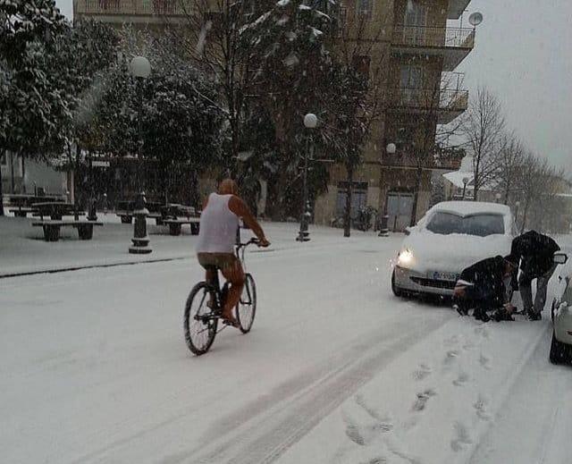 in bici d'inverno